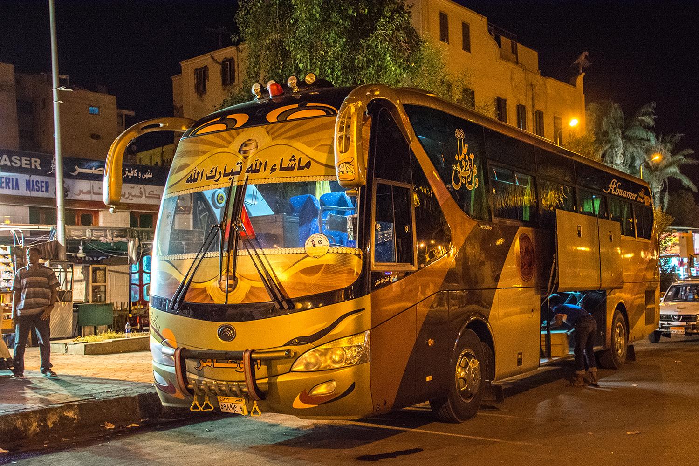 エジプトからスーダンに向かうバス