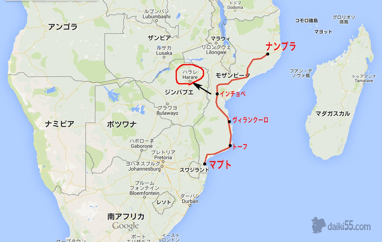 モザンビークの地図